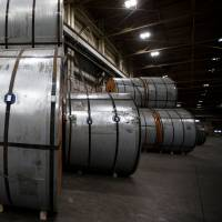 Steel sits in a port authority facility in Hamilton, Ontario, on Friday. | REUTERS