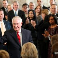 Without mentioning Trump, Rex Tillerson says farewell to Washington, a 'mean-spirited town'