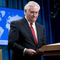 U.S. Secretary of State Rex Tillerson steps away from the podium after speaking at the State Department in Washington on Tuesday. | AP