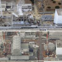 An aerial photo of the damaged nuclear reactors taken on March 20, 2011, (above) and another on Feb. 21 this year, show drastic changes over the past seven years after the 2011 meltdown crisis at the Fukushima No. 1 nuclear plant.  From left: Reactors 4, 3, 2 and 1. | KYODO
