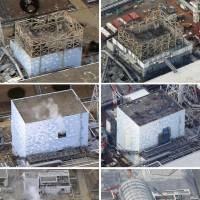 Aerial photos show the four crippled reactor buildings at the Fukushima No. 1 nuclear power plant on March 20, 2011, after the Great East Japan Earthquake and tsunami (left column, from top; reactors 1, 2, 3 and 4) and the same four reactors on Feb. 21, 2018, (right column). | KYODO