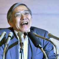 Bank of Japan Gov. Haruhiko Kuroda, who has been reappointed for another five-year term, is at the center of a controversy over his massive monetary easing policy aimed at battling the country's long-running deflation. | KYODO