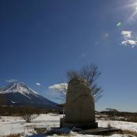 A monument dedicated to the victims of Aum Shinrikyo's attacks, seen in this photo taken in February, stands in where the cult's facilities used to be located in the now-defunct village of Kamikuishiki, Yamanashi Prefecture. The village is now merged into the town of Fuji-Kawaguchiko. | KYODO