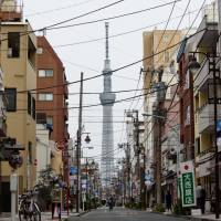 A Tokyo Metropolitan Government report says 99 percent of Sumida Ward, where Tokyo Skytree is located, will be flooded if a supertyphoon hits the capital. | BLOOMBERG