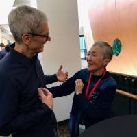 Masako Wakamiya talks with Apple Inc. CEO Tim Cook ahead of Apple's Worldwide Developers Conference in San Jose, California, on June 5. | COURTESY OF TAKASHI TAKEBAYASHI