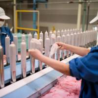 Employees of Japanese condom maker Sagami Rubber Industries perform quality tests on randomly picked condoms at its testing facility in Atsugi, Kanagawa Prefecture, in January. | AFP-JIJI