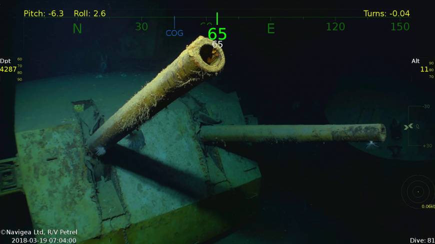 This Monday underwater video image courtesy of Paul Allen shows wreckage from the USS Juneau, a U.S. Navy ship sunk by the Japanese torpedoes 76 years ago, found in the South Pacific. Philanthropist and Microsoft co-founder Allen has announced that wreckage of the sunken ship on which five brothers died in World War II has been discovered in the South Pacific. | PAUL ALLEN / VIA AP