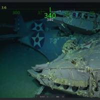 This handout photo shows wreckage from the USS Lexington in the Coral Sea. | COURTESY OF PAUL G. ALLEN / VIA AFP-JIJI