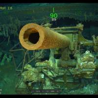 This handout photograph shows wreckage from the USS Lexington in the Coral Sea. | COURTESY OF PAUL G. ALLEN / VIA AFP-JIJI