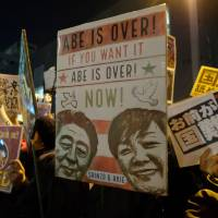 Protesters stage an anti-Abe demonstration near the prime minister's official residence in Tokyo Monday.   AFP-JIJI