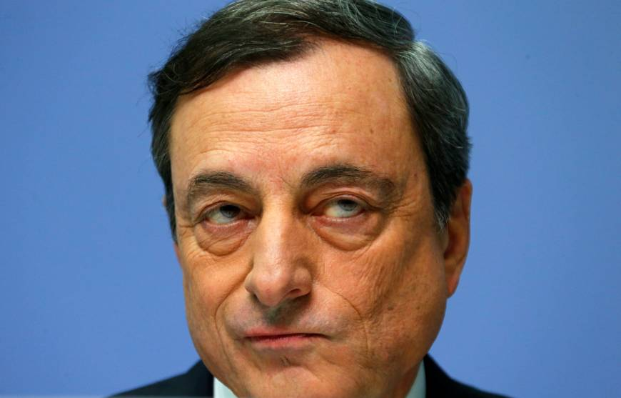 European Central Bank President Mario Draghi is pictured during an ECB news conference in Frankfurt in December 2014. | REUTERS