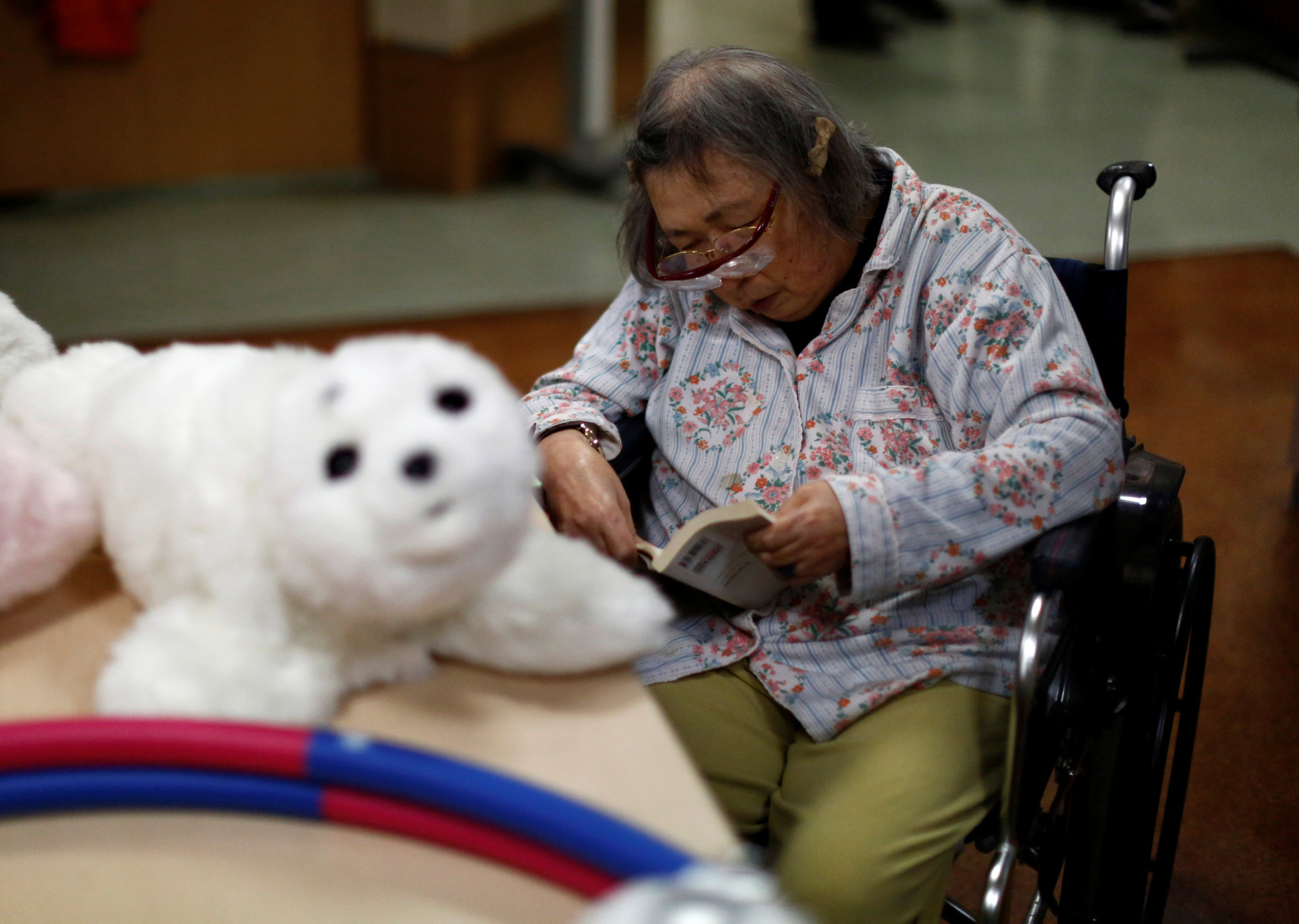 A resident reads a book during a session with Paro, a robotic seal, at the Shintomi nursing home in Tokyo.