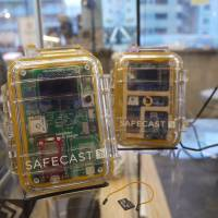 Portable Geiger counters, developed by Safecast volunteers, are seen. | TOMOKO OTAKE