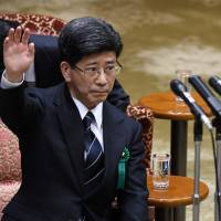 Former senior Finance Ministry official Nobuhisa Sagawa testifies Tuesday before the Upper House Budget Committee.   AFP-JIJI