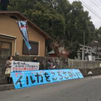 Japanese activists protest dolphin hunts in Taiji, Wakayama Prefecture, on Feb. 10. | JAY ALABASTER