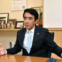 Lawson Inc. President and Chief Executive Officer Sadanobu Takemasu is interviewed by The Japan Times  at his office in Tokyo earlier this month. | YOSHIAKI MIURA