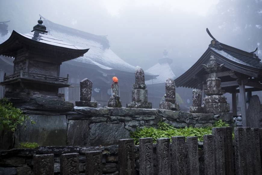 Atmospheric: mist descends on Shosanji temple, temple number 12 of 88 on the Shikoku Pilgrimage.