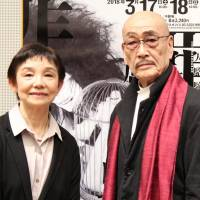 Formidable alliance: Noriko Ohara (left), the artistic director of ballet and dance at the New National Theatre, Tokyo, stands with Dairakudakan founder Akaji Maro at a press conference on the butoh troupe's newest production, 'Crime and Punishment.' | NOBUKO TANAKA