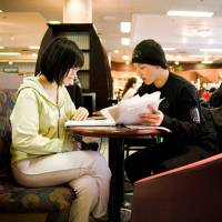 Students study for an exam at the McGill Bookstore Cafe in Montreal.