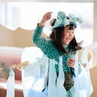 New world: Acchi Cocchi recently teamed up in Tohoku with Polyglot Theatre for the second time,  bringing the Australian group's 'Paper Planet' production to schools in Minamisanriku, Miyagi Prefecture.   AI UEDA