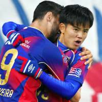 Takefusa Kubo of FC Tokyo celebrates the first goal during the J.League YBC Levain Cup Group A match between FC Tokyo and Albirex Niigata at Ajinomoto Stadium on Wednesday. | KYODO