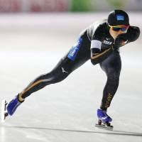 Miho Takagi competes in the women's 3,000 meters at the World Allround Speed Skating Championships in Amsterdam, Netherlands, on Friday. | AP