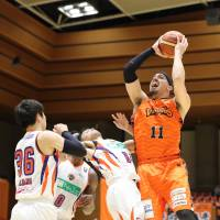Ehime star Chehales Tapscott scored 40 points in a victory over Hiroshima on Friday night. | B. LEAGUE