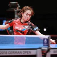 Kasumi Ishikawa competes during the women's singles final at the German Open on Sunday in Bremen, Germany. | KYODO