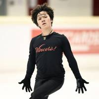 Olympic silver medalist Shoma Uno, seen here at practice on Monday, will try to win his first senior world title this week at the world championships in Milan. | KYODO