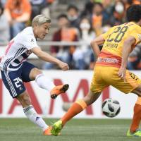 Marinos score early, hold off S-Pulse on road