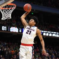 Rui Hachimura goes up for a dunk during Gonzaga's 90-84 win over Ohio State University in the second round of the NCAA Tournament on March 17. | USA TODAY / VIA REUTERS
