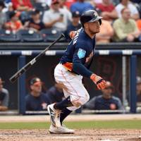 Houston third baseman Alex Bregman, seen in action in spring training, delivered several key hits for the Astros in the 2017 World Series. | USA TODAY / VIA REUTERS