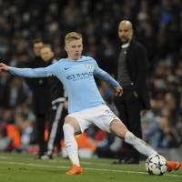 Manchester City's Oleksandr Zinchenko controls the ball in the Champions League round of 16, second- leg soccer match against Basel at Etihad Stadium on Wednesday. | AP