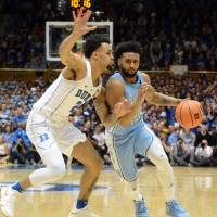 North Carolina guard Joel Berry II (right) is hoping to lead the Tar Heels to back-to-back national championships. UNC is the No. 2 seed in the West Region. | USA TODAY / VIA REUTERS