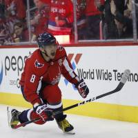 Washington's Alex Ovechkin celebrates his goal in the second period against Winnipeg on Monday night. It was Ovechkin's 600th career goal. | AP