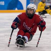 Norway's Lena Schroeder is the second woman to compete in ice hockey at the Paralympic Games. | REUTERS