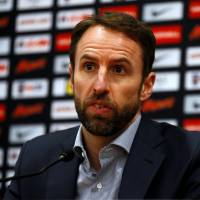 England manager Gareth Southgate speaks at a news conference on Wednesday. | REUTERS