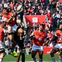 Timothy Lafaele (second from left) and the Sunwolves are back in action on Saturday against the Melbourne Rebels. | AFP-JIJI