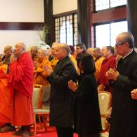 Cambodian King Norodom Sihamoni (fourth from right) and other foreign dignitaries attend the Grand Buddhist Ceremony at Sampozan Muryojuji Temple in Kato, Hyogo Prefecture, on April 8. | MASAAKI KAMEDA