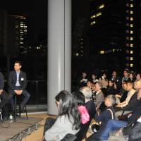Panelists speak at the launch of Venture Cafe Tokyo, an organization promoting innovation, at the Toranomon Hills complex in the capital, on March 22.   KYODO
