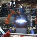 Shimizu Corp.'s Robo-Welder is demonstrated during a press tour at the construction company's robot laboratory in Tokyo on Monday.
