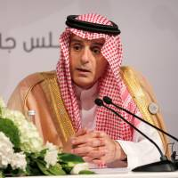 Saudi Foreign Minister Adel Al-Jubeir speaks during a news conference after the 29th Arab Summit in Dhahran, Saudi Arabia, Sunday. | REUTERS