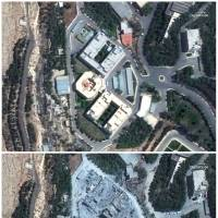 This combination of satellite images provided by DigitalGlobe, a Maxar company, shows the Barzah Research and Development Center in Syria on Friday (top) and on Sunday, following a U.S.-led allied missile attack. The U.S., France and Britain launched missiles at Syrian military targets early Saturday. | SATELLITE IMAGE ©2018 DIGITALGLOBE, A MAXAR COMPANY / VIA AP