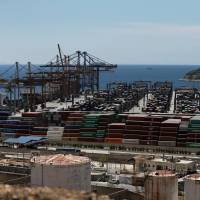 The container terminal at Piraeus, near Athens, is seen in June 2016. | REUTERS