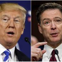This combination photo shows (from left) President Donald Trump speaking during a roundtable discussion on tax policy in White Sulphur Springs, West Virginia, on April 5 and former FBI director James Comey speaking during a Senate Intelligence Committee hearing on Capitol Hill in Washington last June. Trump fired off a series of tweets ahead of Comey's first interview on his book, 'A Higher Loyalty: Truth, Lies, and Leadership,' which offers his version of the events surrounding his firing as FBI director by Trump. The interview will air Sunday night on ABC. | AP