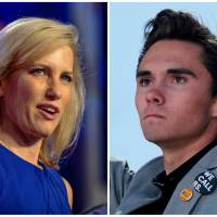File photos show media personality Laura Ingraham in Washington last October and Marjory Stoneman Douglas High School student David Hogg at a rally in Washington March 24. | REUTERS