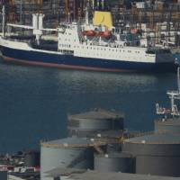 The Royal Mail Ship St Helena lies berthed in Cape Town harbor, South Africa, Tuesday. | REUTERS