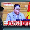 A man watches a TV showing file footage of North Korean leader Kim Jong Un, at a railway station in Seoul on Saturday. North Korean leader Kim Jong Un said he would halt nuclear tests and intercontinental missile launches, in an announcement welcomed by U.S. President Donald Trump ahead of a much-anticipated summit between the two men.