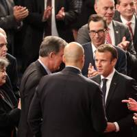 Defying Trump, Macron slams nationalism, says U.S. should not ditch Iran deal without new accord