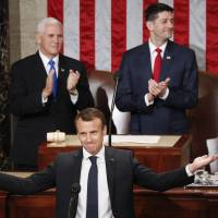 Macron resists Trump's 'America first' in speech to Congress